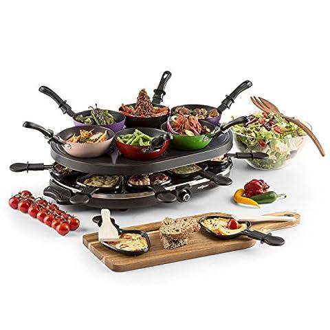 oneConcept Woklette - Appareil à raclette electrique machine multifonction avec set wok party et plaque de grill antiadhésif (1200 W, 8 poêlons et 6 mini-woks)