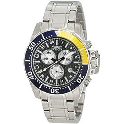 Invicta Men's 44mm Steel Bracelet & Case Flame-Fusion Crystal Swiss Quartz Black Dial Watch 11280