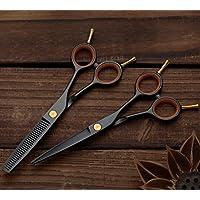 'pelo Tijeras de peluquería Tijeras Set, 6pulgadas incluye funda–Scharfer y un corte preciso,, perfecta corte de pelo para mujer y hombre Negro
