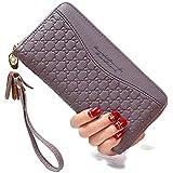 Damen-Geldbörse mit Doppelreißverschluss, Geldbörse aus PU-Leder für Damen, lange Tasche, großes Fassungsvermögen, mit Handsc