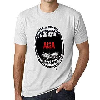Herren Tee Männer Vintage T shirt Mouth Expressions AHA Weiß Gesprenkelt