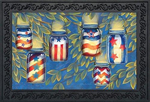 Patriotische Leuchten Sommer Fußmatte Indoor Outdoor Mason Jar Kerzen 45,7x 76,2cm