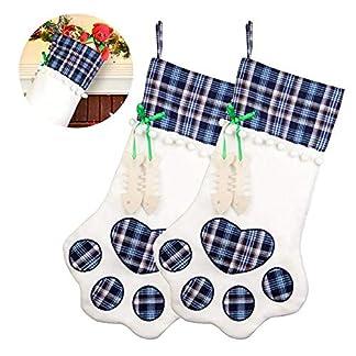 Baiwka Paquete De 4 Medias De Navidad para Perros con Pata, Calcetín Personalizado para Decoraciones Navideñas, Tema De Decoración Navideña Favorita De Santa(18″ x11)