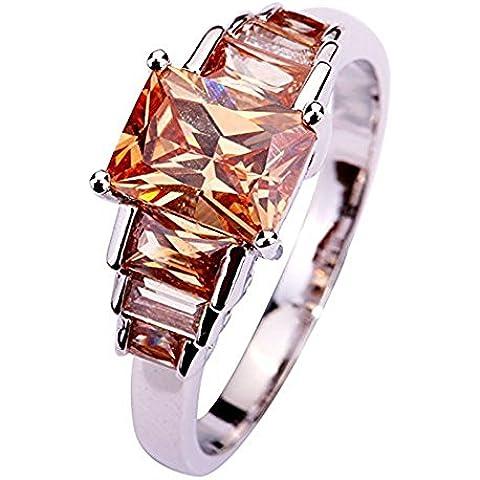 Kekexili Chic anelli e gioielli in argento, con cristalli, colore: champagne/different taglia scegliere gratuita-Anello 54