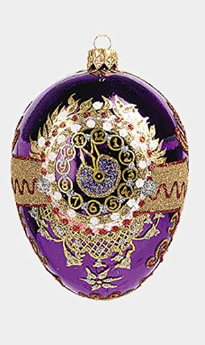 Pinnacle Purple Imperial Cuckoo Egg Faberge Inspired Polish Blown Glass Holiday Ornament