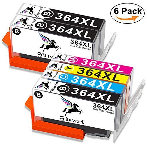 Fituwork 364XL 364 XL Kompatible Tintenpatronen Passend für HP Photosmart 5510 5511 5512 5514 5515 5520 5522 5524 6510 6520 6512 6515 7510 7520 7515 B8550 B8558 C5370 C5383 C5388 Deskjet3070A 6Pack - High-yield-combo