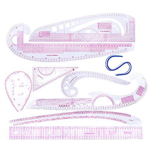 perfk 9 Stück/Set Kunststoff French Curve Lineale Zeichnung Vorlagen Curved Französische Kurve kurvenlineal Multi