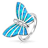 Bling Jewelry en plata esterlina azul sintético Opal Inlay Butterfly Anillo Animal