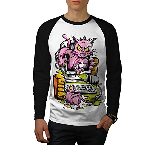 Computer Maus Verfolgungsjagd Katze Herren S Baseball lange Ärmel T-Shirt | (Lange Schwanz Katze Oder Maus)