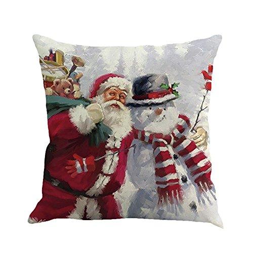 (HUYURI Wohnkultur Weihnachten Weihnachtsmann Druck Färben Sofa Home Decor Kissenbezug Kissenbezug 18