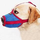 ubest Hund Maulkorb, Gepolstert und Einstellbar Mesh, für meistens Hunde, Größe L, Blau+Rot