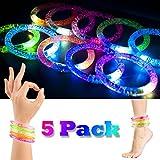2win2buy 5 x LED Armband, Leuchtender Armschmuck Leuchtarmband Blinkend Glänzend für Party Radsport Club Disco Joggen KTV Konzert Spielzeug