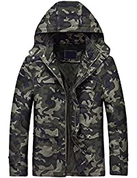 YOUTHUP Men's Tooling Jacket Hoodie Camo Coat Outdoor Camouflage