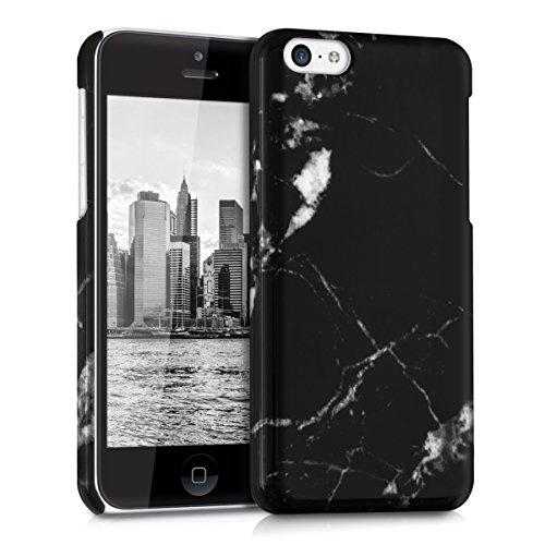 kwmobile Hülle für Apple iPhone 5C - Backcover Case Handy Schutzhülle Kunststoff - Hardcase Cover Marmor Design Schwarz Weiß