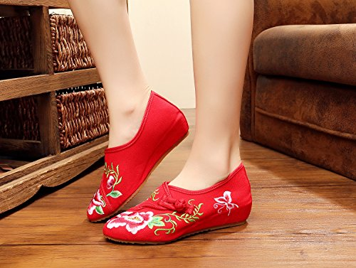 &hua Chaussures brodées, lin, semelle de tendon, style ethnique, chaussures féminines, mode, confortable Red