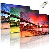 Lightbox-Multicolor | LED Leinwandbild | Brooklyn Bridge Park New York | 100x70 cm | Fully Lighted