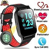 Duperym Smartwatch mit Blutdruck-Herzfrequenz-Monitor, für Herren und Damen, tragbare Armbanduhr, Prime Deals für Jungen, Mädchen, Sport, Outdoor, Aktivitätstracker, Synchronisation, Anrufe, SMS für Android iPhone (rot)