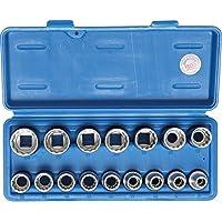 """BGS Technic 2226 - Juego de llaes de vaso, 12 caras, entrada 12,5 mm (1/2""""), 8-24 mm, 16 piezas"""