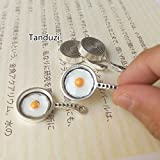 Photo, S : Tanduzi 10PCS Dollhouse Miniature Omelette Pan Alloy Mini Egg Fryer Skillet Dollhouse Kitchenware Pendant DIY
