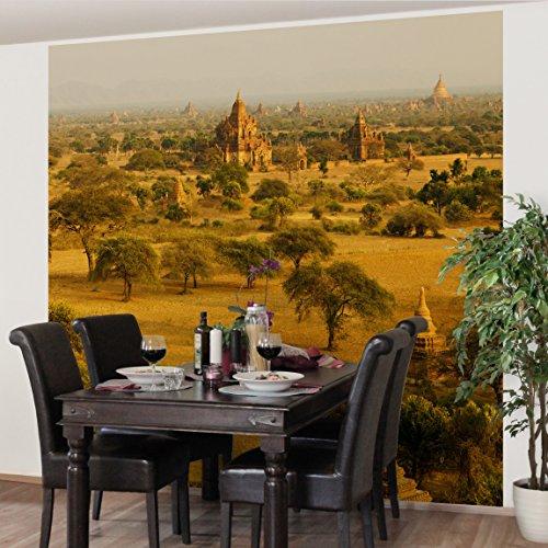 Vliestapete Premium - Bagan in Myanmar - Fototapete Quadrat Vlies Tapete Wandtapete Wandbild Foto 3D Fototapete, Größe HxB: 192cm x 192cm (Pagode Landschaft Licht)