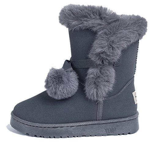 AgeeMi Shoes Femmes Bottes Courte Hiver Fourrure Doublée Pom Pom Lacets Chaleureux Gris