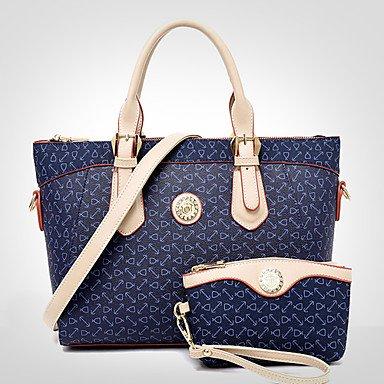 La donna pu canna borsa a tracolla / Tote / Frizione - bianco / rosa / blu / marrone,Bianco Brown
