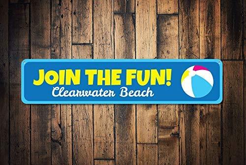 Join The Fun Schild Personalisiertes Kinder-Name/Strand-Location, Schlafzimmer-Schild, personalisiertes Kinderzimmer, Strand, Ball-Schild, Geschenk für Zuhause, Wandkunst, Dekoration für Damen, Herren