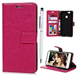 51zNVpEtYlL. SL160  UK BEST BUY #1Huawei Nova Flip Case MAXFE.CO Crazy Horse Pattern In Solid Color PU Leather Case Cover With Inlaid Flexible TPU Back Holder Shockproof Magnetic Clasp Folio Flip Wallet Card Slots Built Kickstand Book Cover For Huawei Nova + One Stylus Touch Pen (Dark Pink) price Reviews uk