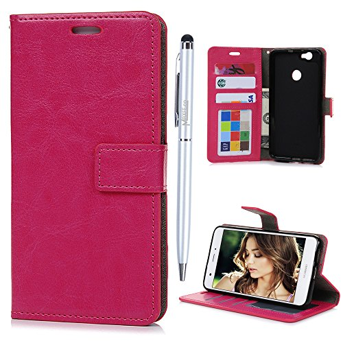 51zNVpEtYlL UK BEST BUY #1Huawei Nova Flip Case MAXFE.CO Crazy Horse Pattern In Solid Color PU Leather Case Cover With Inlaid Flexible TPU Back Holder Shockproof Magnetic Clasp Folio Flip Wallet Card Slots Built Kickstand Book Cover For Huawei Nova + One Stylus Touch Pen (Dark Pink) price Reviews uk
