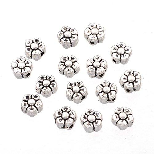Nbeads 2000pezzi di antiquariato argento tibetano fiore di perline per fare la festa del papà regali, circa 5.2mm di lunghezza, foro: circa 1.5mm