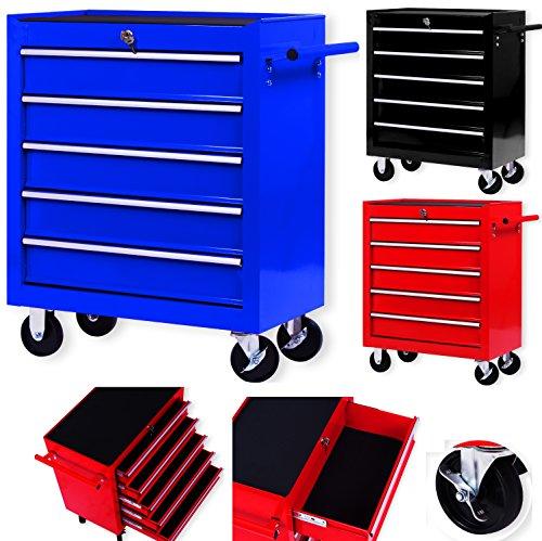 Masko Werkstattwagen - 5 Schubladen, blau  Abschließbar  Massives Metall | Mobiler Werkzeug-Wagen...