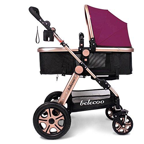 Puede ser reclinable, carritos de los niños, carros de bebé, carruajes de alto perfil del bebé, cochecito ligero ( Color : Earthly gold purple )