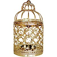 MoGist - Candelabro decorativo, diseño de jaula de pájaros, color dorado