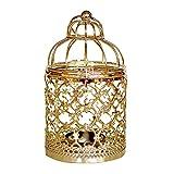 Hosaire 1x Kerzenständer Fashion Birdcage Design Hohl Metall Kerzenständer Haushalt Wohnzimmer Schlafzimmer Deko Kerzen Kerzenhalter(Gold A) 8 * 8 * 14CM