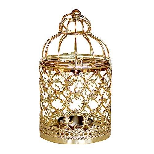 CAOLATOR Bügeleisen Kerzenständer Halter Blätter Kandelaber Kerzenhalter Vintage Metall Deko Laternen Hohle Hängend Hochzeit Tischdekoration Kerzenstaender(#1 Gold)