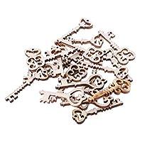 Freshsell 20pcs Laser Cut Wood Key Embellishment Wooden Shape Craft Wedding Decor