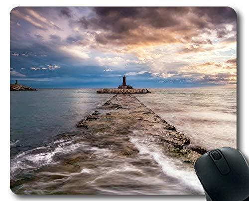 Yanteng Tapis de Souris, Phare sur la Plage Tapis de Souris Gaming Mouse