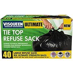 Visqueen Ultimate Lot de 40 sacs poubelle 80 l