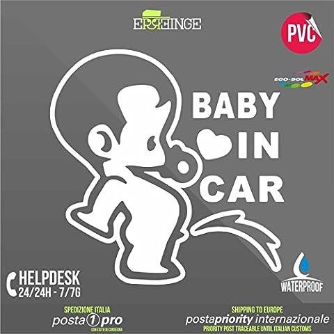[ERREINGE] STICKER PRE-SPACED BLANC 14cm - Baby on Board Bébé à Bord - Autocollant Decal Transfer Vinyle Muraux Laptop Voiture Moto Casque Scooter Camper