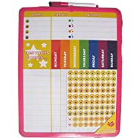Reward Chart Supplied with Magnetic & 3M Pads, Stickers and Dry Marker (28 x 36 cm) Pink