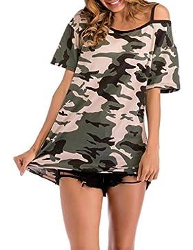 JYC Camiseta Mujer Perfect Blanco,Ultra Mujer Camiseta Básica Algodón,Mangas Largas Volantes Lunares, Mujer Casual...