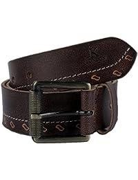 K London Men Casual, Evening, Party Brown Genuine Leather Belt (brn_wht_thrd_btm_punch)