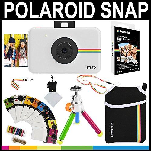 Polaroid - Cámara instantánea Polaroid Snap (Blanco) + Papel Zink 2x3 (paqute de 20) + Funda de Neopreno + Marcos para fotos + Set de accesorios
