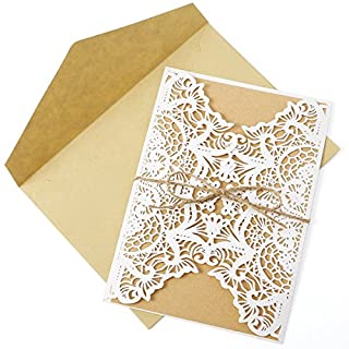 Anladia 10er Einladungskarten Elegante Blume Blüte Spitze Design Kraftpapier mit Jute Band Karten, Umschläge, Schleifer, Einlegeblätter OHNE DRUCK Hochzeit Geburtstag Taufe Party Einladung