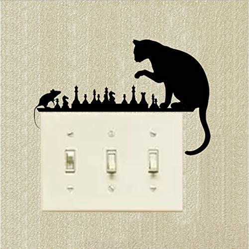 mkqqq135 Schalter Aufkleber Schach Katze Maus Kunst Tiere Vinyl Aufkleber Dekorative Cartoon Kreative Wandtattoos - Sockel Schach