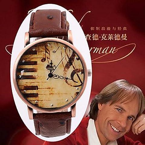 Cinturino in pelle guardare per quarzo piastre in lega di rame retrò moda musica nota doni di orologi di superficie ( Colore : Nero , Sesso : Donna )