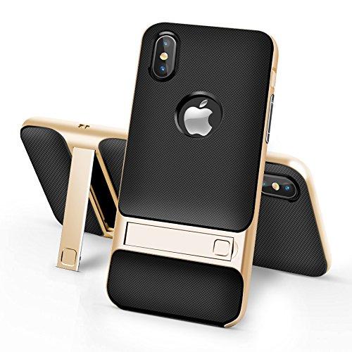 BCIT iPhone 8 Custodia - ibrida Morbido resistente agli urti + Bumper Frame Dual Layer Case con Supporto di protezione per iPhone 8 - Grigio Oro