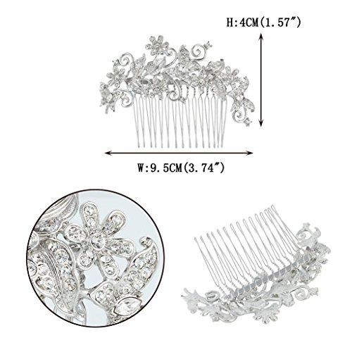 EVER FAITH® Kristall Vintage Inspiriert Schmetterling Blume Hochzeit Haarkamm Haarschmuck N03349-1 - 5