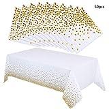 Nuoshen - Tovaglie di carta a pois dorati + 50 tovaglioli, ideali per feste di compleanno