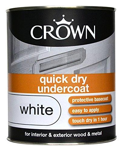 Crown Farbe Quick-Dry Wood.Metal Primer Haftgrund/Grundierung, Weiß, 750 ml (Farbe Primer Metal)